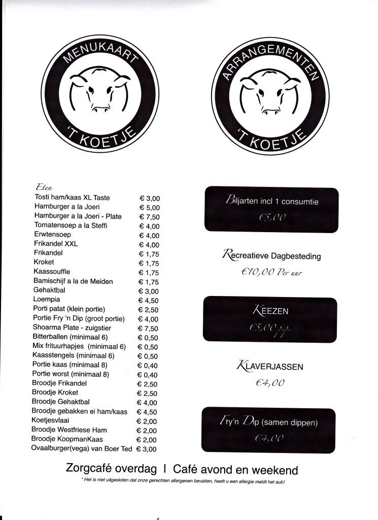 Menukaart Zorg-café t Koetje